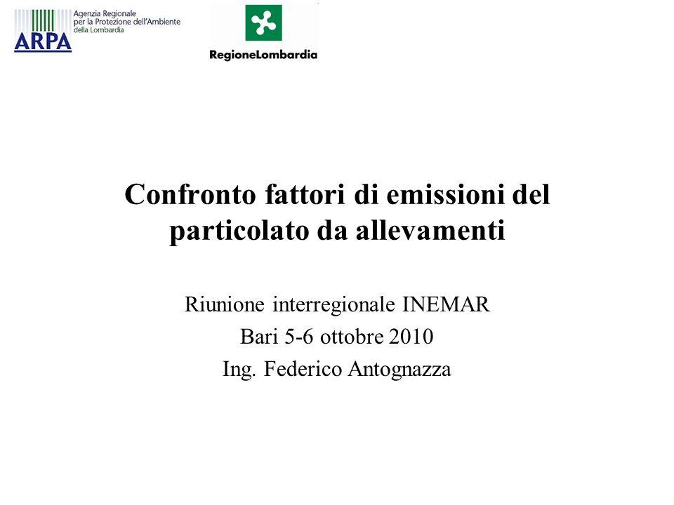 FE del particolato da allevamenti in Inemar I valori dei fattori di emissione contenuti in INEMAR riferiti al particolato da allevamenti sono così articolati: –Bovini e Avicoli (galline, etc.): FE utilizzati da RAINS (Lükewille A., Bertok I., Amann M., Cofala J., Gyarfas, F., Heyes, C., Karvosenoja, N., Klimont, Z., Schöpp, W.