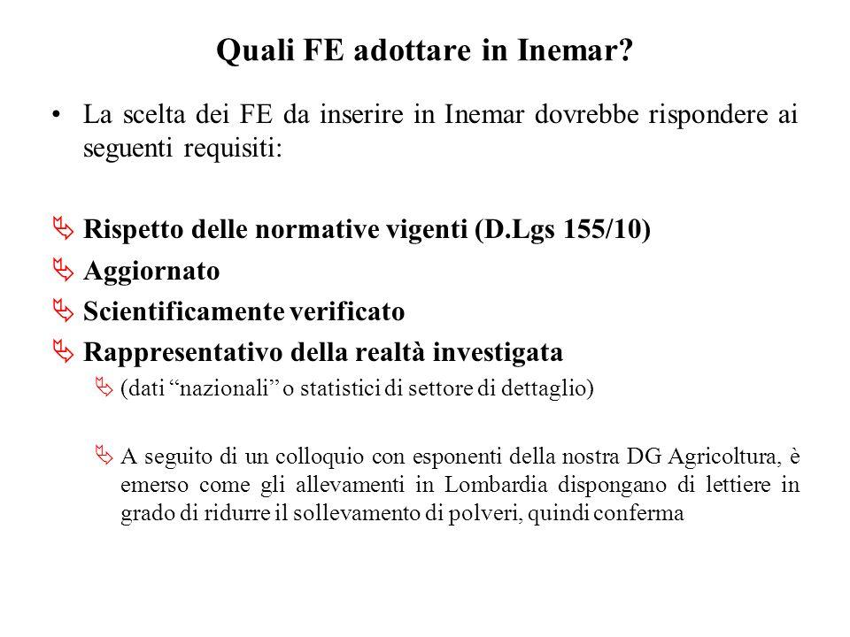 Quali FE adottare in Inemar? La scelta dei FE da inserire in Inemar dovrebbe rispondere ai seguenti requisiti: Rispetto delle normative vigenti (D.Lgs