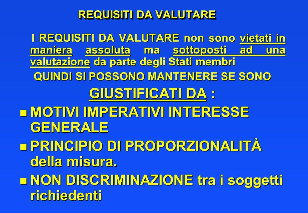 REQUISITI DA VALUTARE I REQUISITI DA VALUTARE non sono vietati in maniera assoluta ma sottoposti ad una valutazione da parte degli Stati membri I REQU