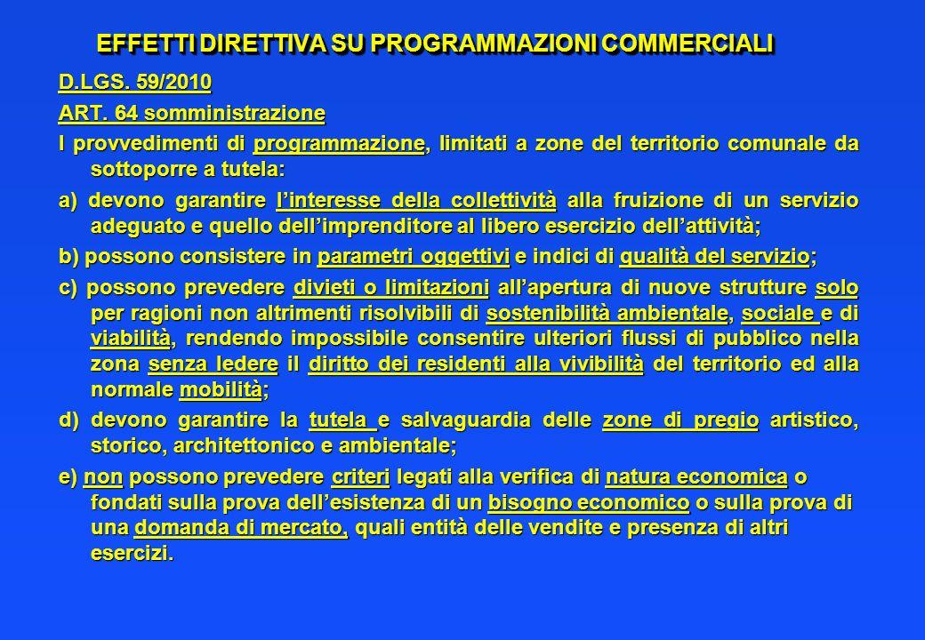 EFFETTI DIRETTIVA SU PROGRAMMAZIONI COMMERCIALI D.LGS. 59/2010 ART. 64 somministrazione I provvedimenti di programmazione, limitati a zone del territo