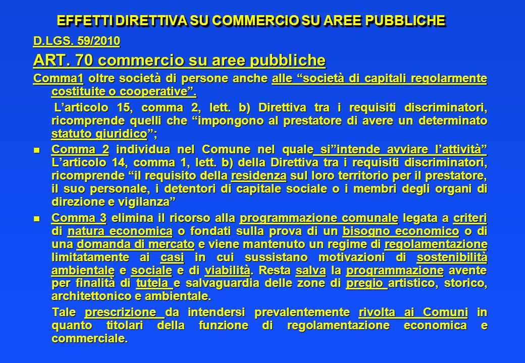 EFFETTI DIRETTIVA SU COMMERCIO SU AREE PUBBLICHE D.LGS. 59/2010 ART. 70 commercio su aree pubbliche Comma1 oltre società di persone anche alle società