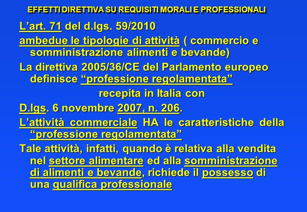 EFFETTI DIRETTIVA SU REQUISITI MORALI E PROFESSIONALI Lart. 71 del d.lgs. 59/2010 ambedue le tipologie di attività ( commercio e somministrazione alim