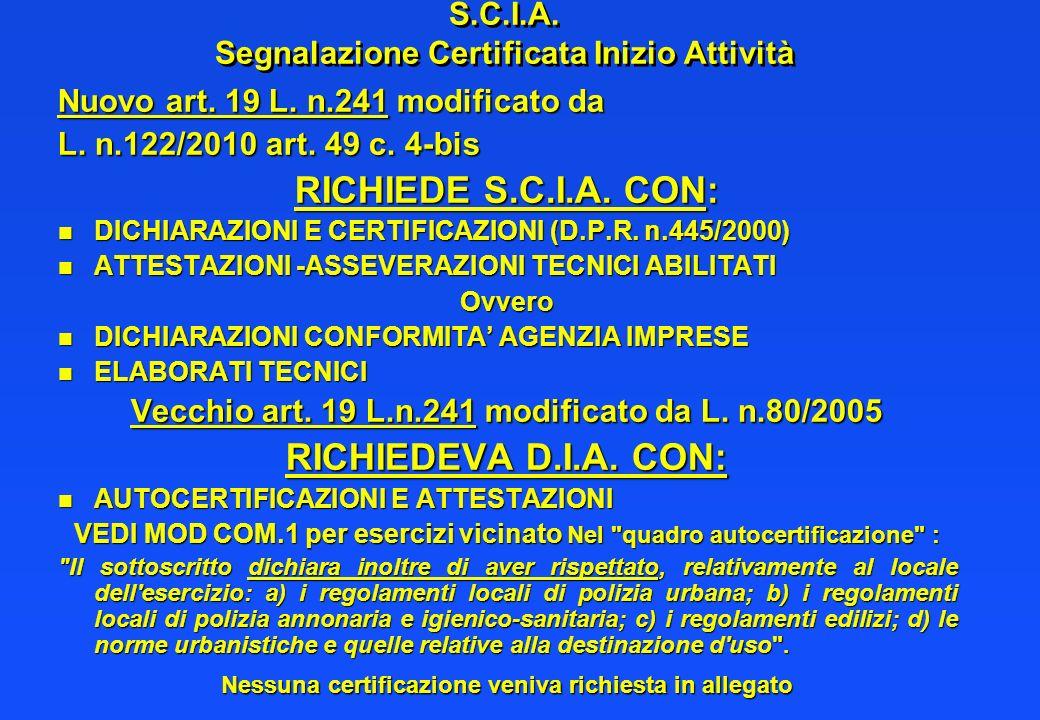 S.C.I.A. Segnalazione Certificata Inizio Attività Nuovo art. 19 L. n.241 modificato da L. n.122/2010 art. 49 c. 4-bis RICHIEDE S.C.I.A. CON: n DICHIAR