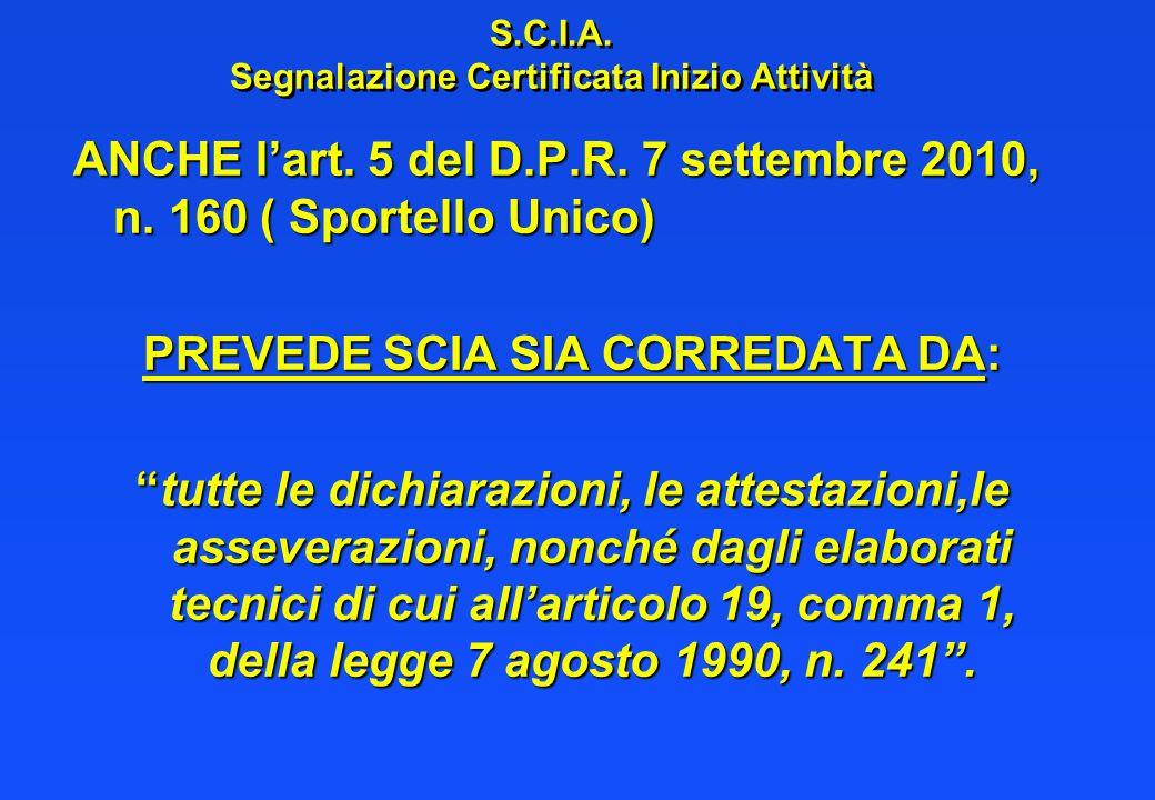 S.C.I.A. Segnalazione Certificata Inizio Attività ANCHE lart. 5 del D.P.R. 7 settembre 2010, n. 160 ( Sportello Unico) PREVEDE SCIA SIA CORREDATA DA: