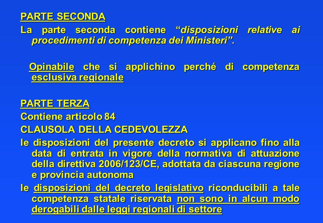 PARTE SECONDA La parte seconda contiene disposizioni relative ai procedimenti di competenza dei Ministeri. Opinabile che si applichino perché di compe