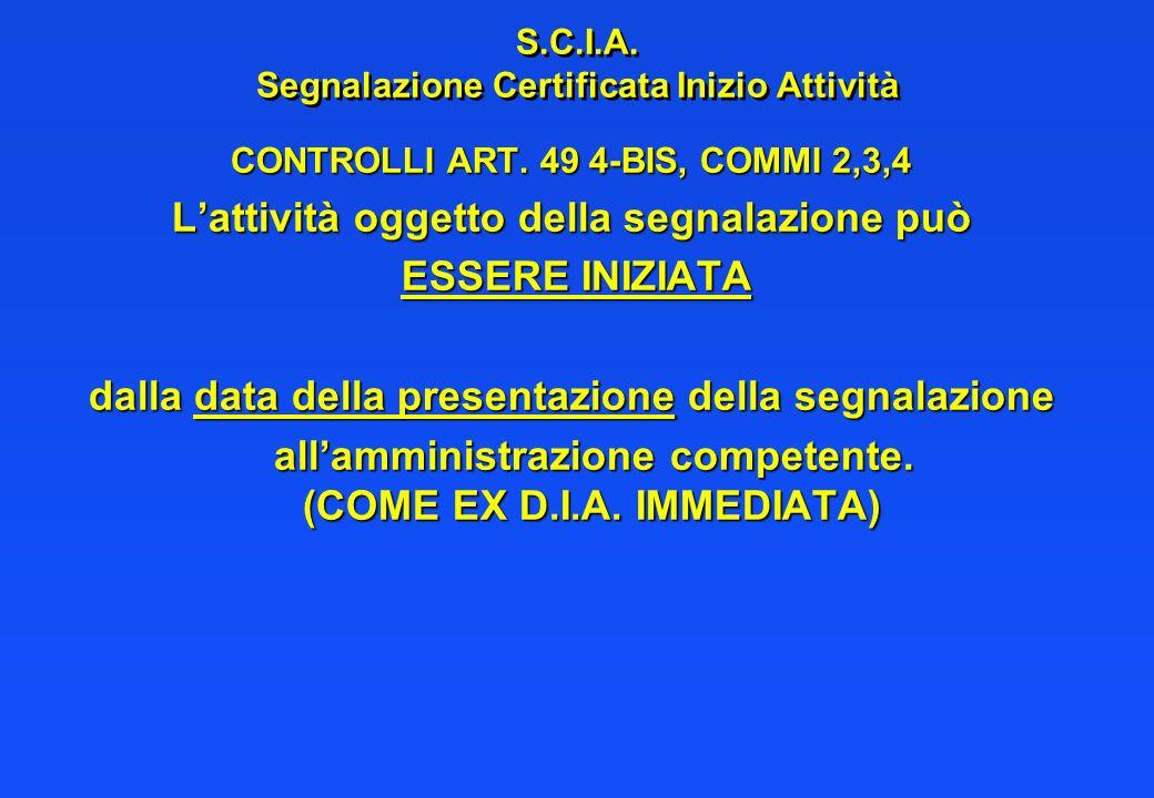 S.C.I.A. Segnalazione Certificata Inizio Attività CONTROLLI ART. 49 4-BIS, COMMI 2,3,4 Lattività oggetto della segnalazione può ESSERE INIZIATA ESSERE