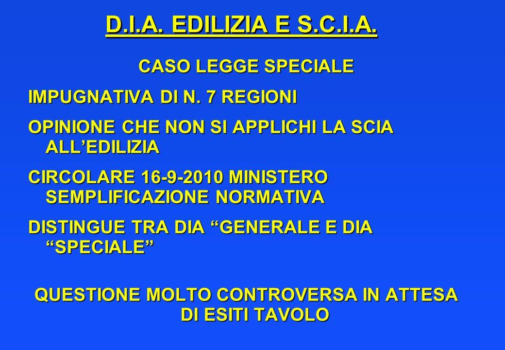 D.I.A. EDILIZIA E S.C.I.A. CASO LEGGE SPECIALE IMPUGNATIVA DI N. 7 REGIONI OPINIONE CHE NON SI APPLICHI LA SCIA ALLEDILIZIA CIRCOLARE 16-9-2010 MINIST