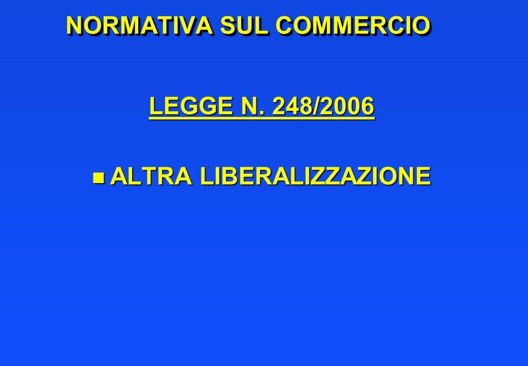 NORMATIVA SUL COMMERCIO LEGGE N. 248/2006 n ALTRA LIBERALIZZAZIONE