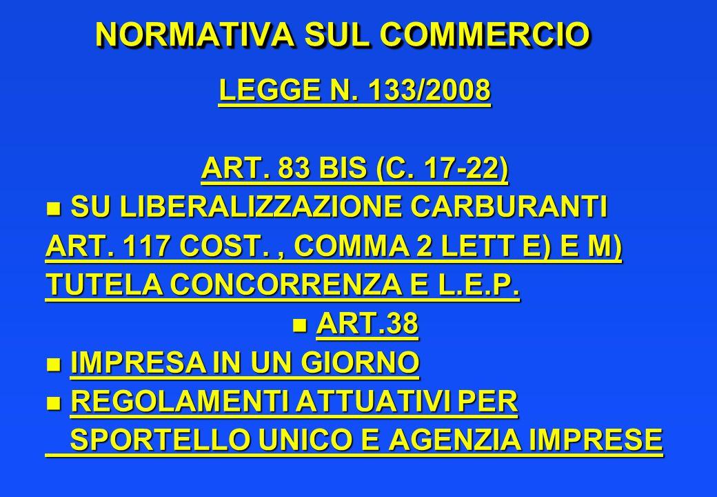 NORMATIVA SUL COMMERCIO LEGGE N. 133/2008 ART. 83 BIS (C. 17-22) n SU LIBERALIZZAZIONE CARBURANTI ART. 117 COST., COMMA 2 LETT E) E M) TUTELA CONCORRE