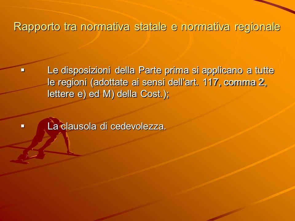 Le disposizioni della Parte prima si applicano a tutte le regioni (adottate ai sensi dellart.
