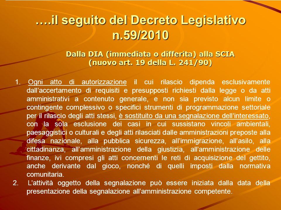 ….il seguito del Decreto Legislativo n.59/2010 Dalla DIA (immediata o differita) alla SCIA (nuovo art.