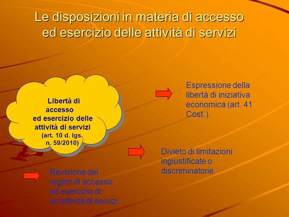 Le disposizioni in materia di accesso ed esercizio delle attività di servizi Libertà di accesso ed esercizio delle attività di servizi (art.
