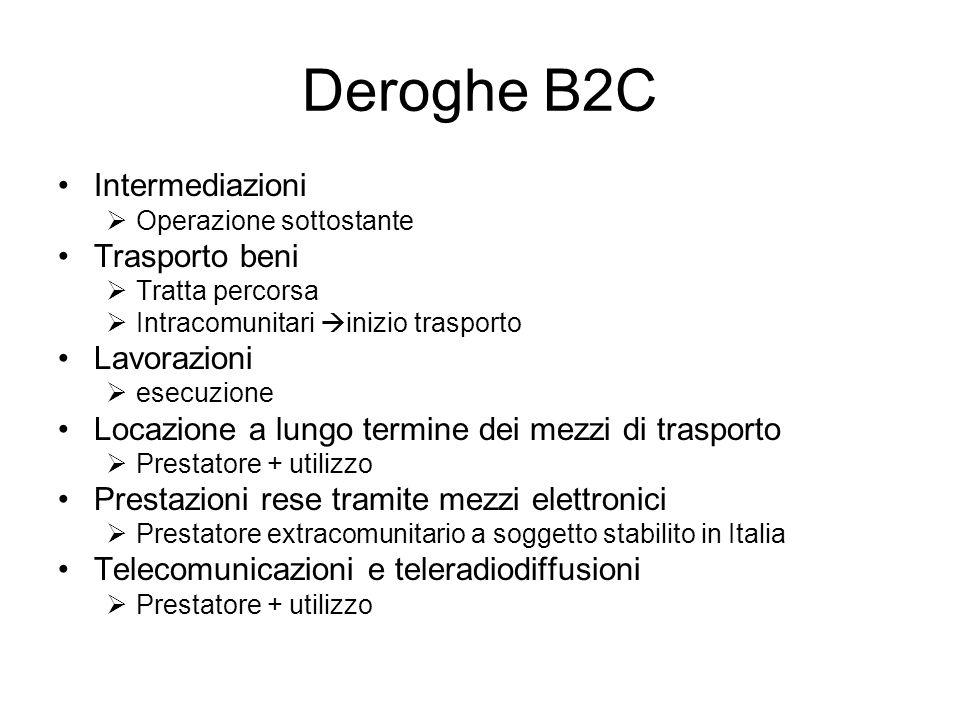 Deroghe B2C Intermediazioni Operazione sottostante Trasporto beni Tratta percorsa Intracomunitari inizio trasporto Lavorazioni esecuzione Locazione a