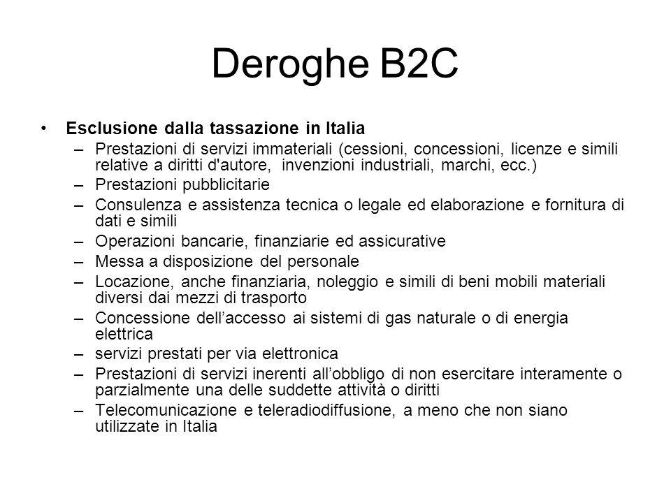 Deroghe B2C Esclusione dalla tassazione in Italia –Prestazioni di servizi immateriali (cessioni, concessioni, licenze e simili relative a diritti d'au