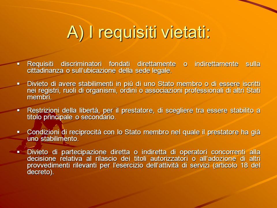 A) I requisiti vietati: Requisiti discriminatori fondati direttamente o indirettamente sulla cittadinanza o sullubicazione della sede legale. Requisit