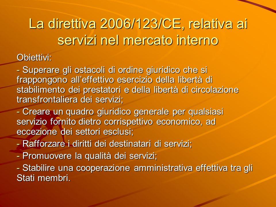 La direttiva 2006/123/CE, relativa ai servizi nel mercato interno Obiettivi: - Superare gli ostacoli di ordine giuridico che si frappongono alleffetti