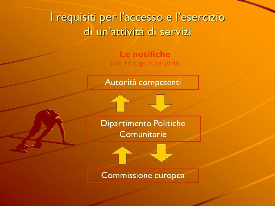 I requisiti per laccesso e lesercizio di unattività di servizi Le notifiche (art. 13 d. lgs. n. 59/2010) Autorità competenti Dipartimento Politiche Co