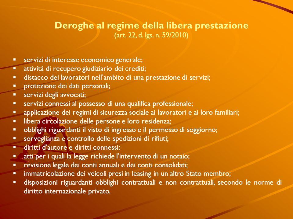 Deroghe al regime della libera prestazione (art. 22, d. lgs. n. 59/2010) servizi di interesse economico generale; attività di recupero giudiziario dei