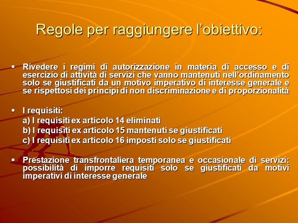 Regole per raggiungere lobiettivo: Rivedere i regimi di autorizzazione in materia di accesso e di esercizio di attività di servizi che vanno mantenuti