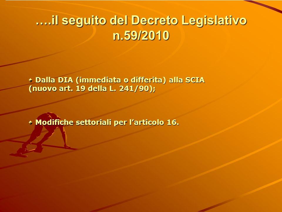 ….il seguito del Decreto Legislativo n.59/2010 Dalla DIA (immediata o differita) alla SCIA Dalla DIA (immediata o differita) alla SCIA (nuovo art. 19