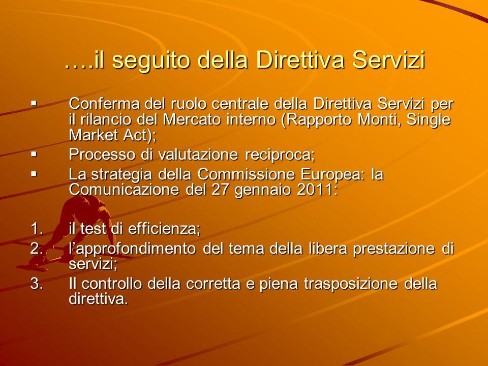 ….il seguito della Direttiva Servizi Conferma del ruolo centrale della Direttiva Servizi per il rilancio del Mercato interno (Rapporto Monti, Single M