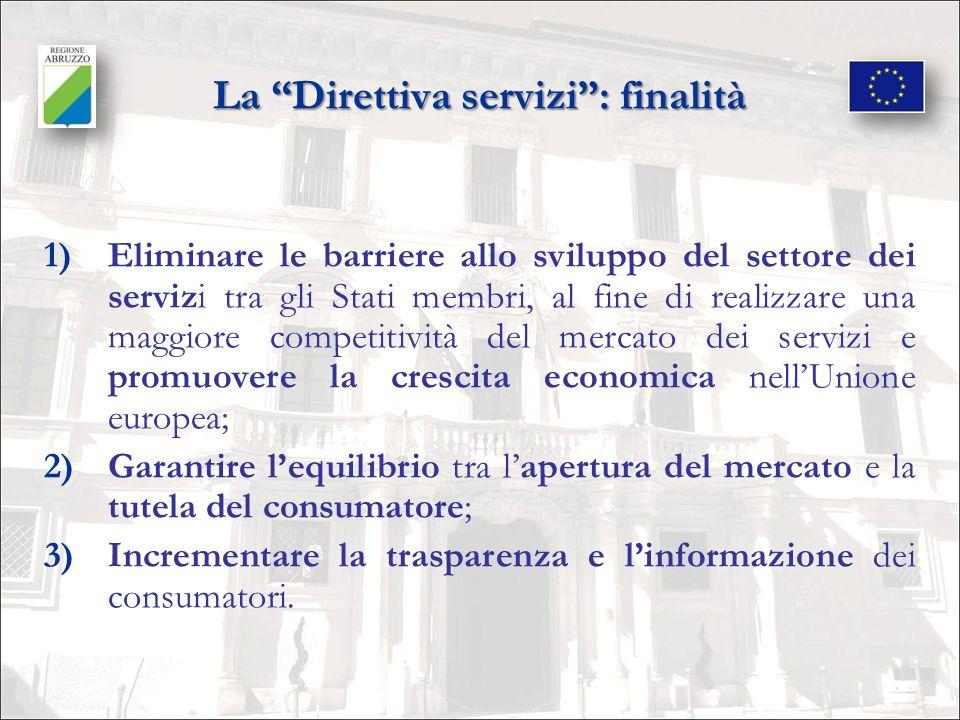 Da cosa nasce la Direttiva servizi Dallesigenza di rendere effettivo lesercizio: 1)della libertà di stabilimento dei prestatori di servizi negli Stati membri dellUE; 2)della libertà di prestazione dei servizi negli Stati membri dellUE.