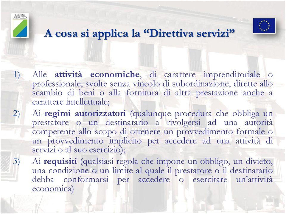 Lavvio del processo di attuazione da parte della Regione Abruzzo 1)Le attività propedeutiche allattuazione della Direttiva servizi hanno preso avvio nel 2008, attraverso una complessa attività di censimento e di valutazione dei regimi autorizzatori e dei requisiti disciplinati e previsti dalle normative e dagli atti amministrativi regionali; 2)Il coordinamento delle attività è stato svolto dalla DirezioneAffari della Presidenza, che ha coinvolto inizialmente tutte le direzioni regionali effettuando la rilevazione di tutti i regimi autorizzatori; 3)Le attività sono state svolte in raccordo con le altre Regioni, attraverso proficui confronti con il Dipartimento per il Coordinamento delle Politiche Comunitarie e con funzionari della Commissione europea.