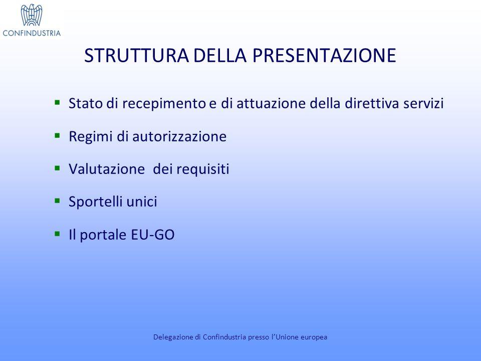 STRUTTURA DELLA PRESENTAZIONE Stato di recepimento e di attuazione della direttiva servizi Regimi di autorizzazione Valutazione dei requisiti Sportelli unici Il portale EU-GO Delegazione di Confindustria presso lUnione europea
