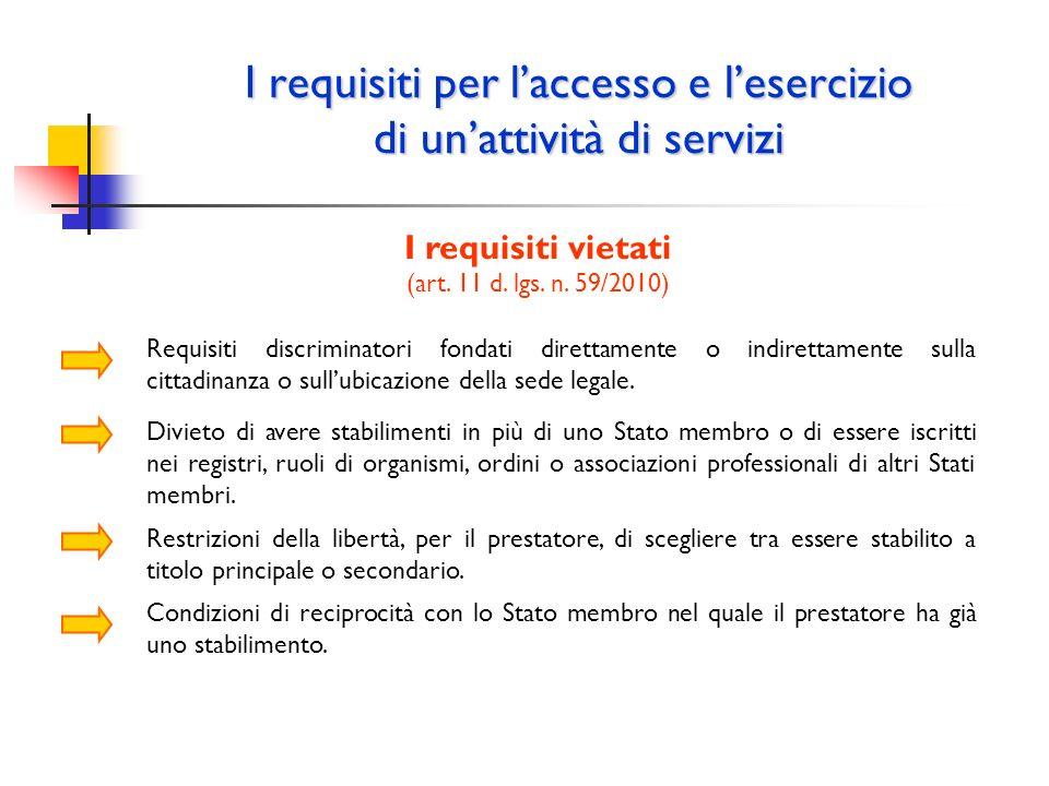I requisiti per laccesso e lesercizio di unattività di servizi I requisiti vietati (art. 11 d. lgs. n. 59/2010) Requisiti discriminatori fondati diret