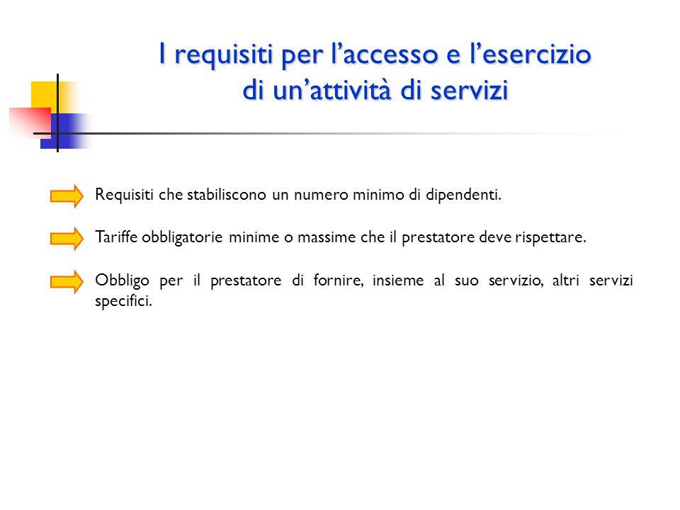 I requisiti per laccesso e lesercizio di unattività di servizi Requisiti che stabiliscono un numero minimo di dipendenti. Tariffe obbligatorie minime