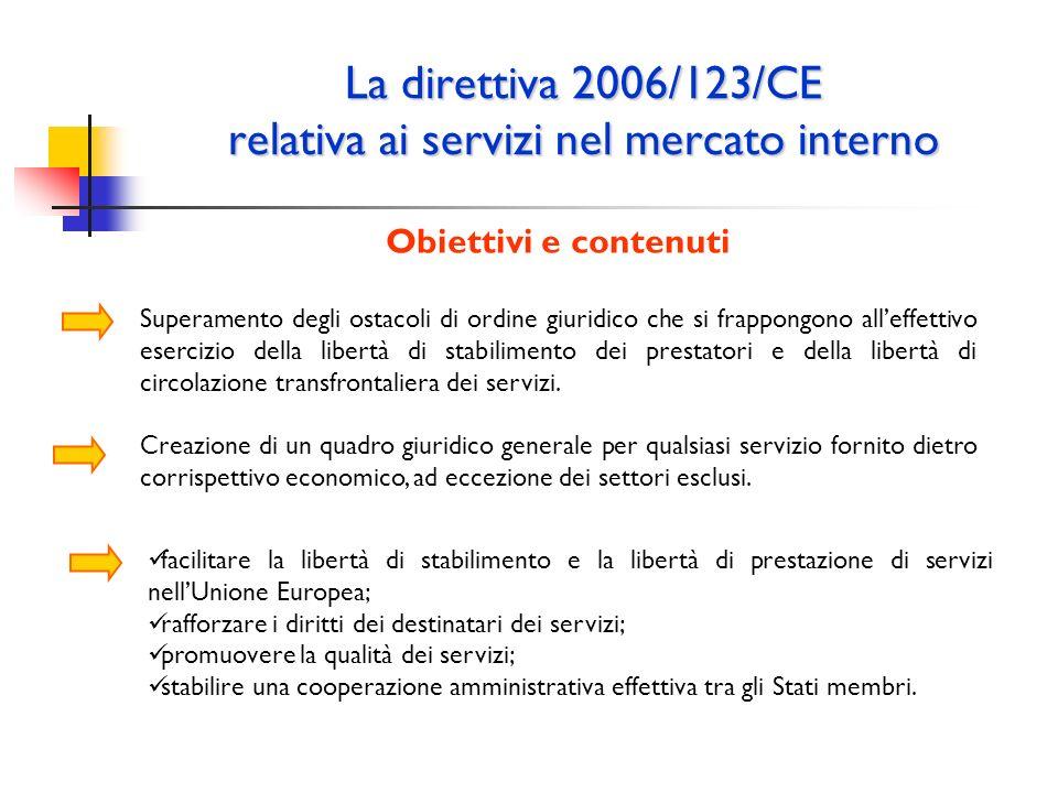 La direttiva 2006/123/CE relativa ai servizi nel mercato interno Obiettivi e contenuti Superamento degli ostacoli di ordine giuridico che si frappongo