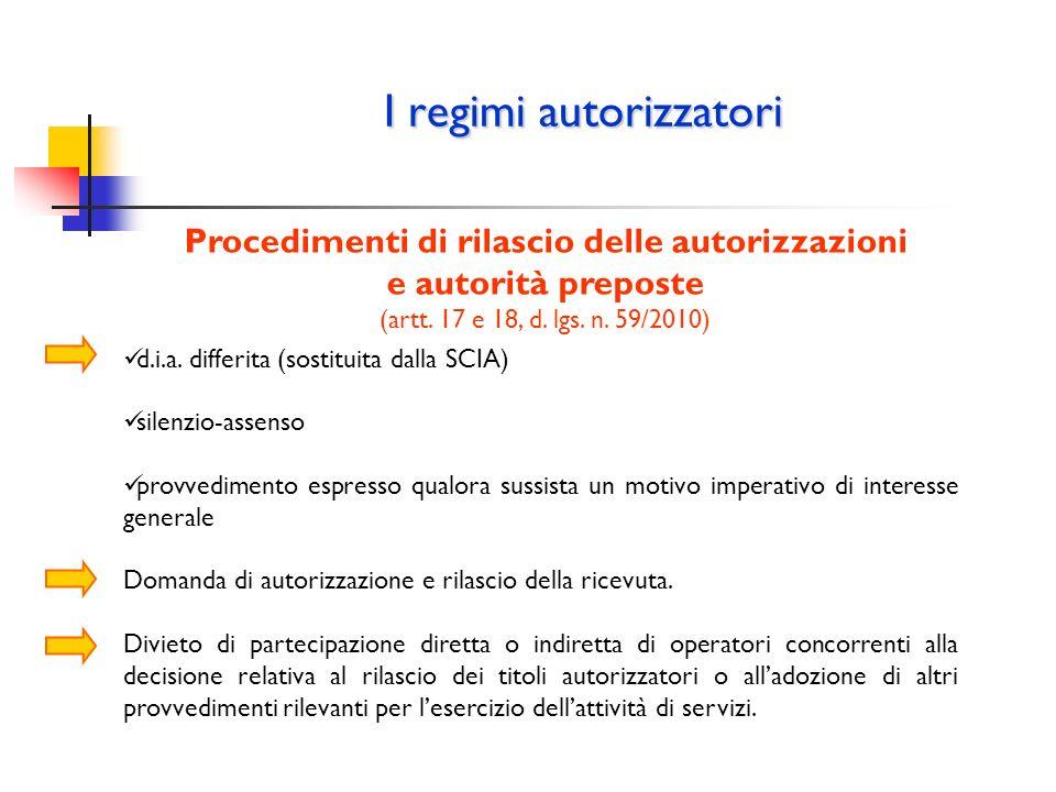 I regimi autorizzatori Procedimenti di rilascio delle autorizzazioni e autorità preposte (artt. 17 e 18, d. lgs. n. 59/2010) d.i.a. differita (sostitu