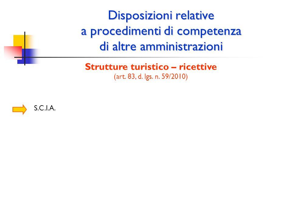 Disposizioni relative a procedimenti di competenza di altre amministrazioni Strutture turistico – ricettive (art. 83, d. lgs. n. 59/2010) S.C.I.A.