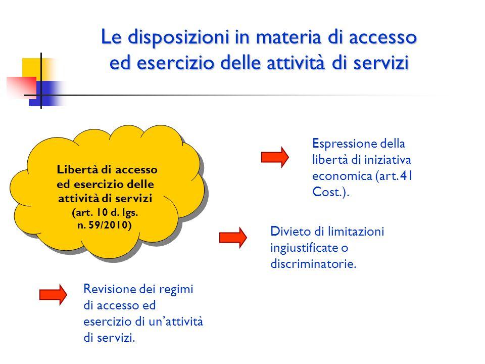 Le disposizioni in materia di accesso ed esercizio delle attività di servizi Libertà di accesso ed esercizio delle attività di servizi (art. 10 d. lgs