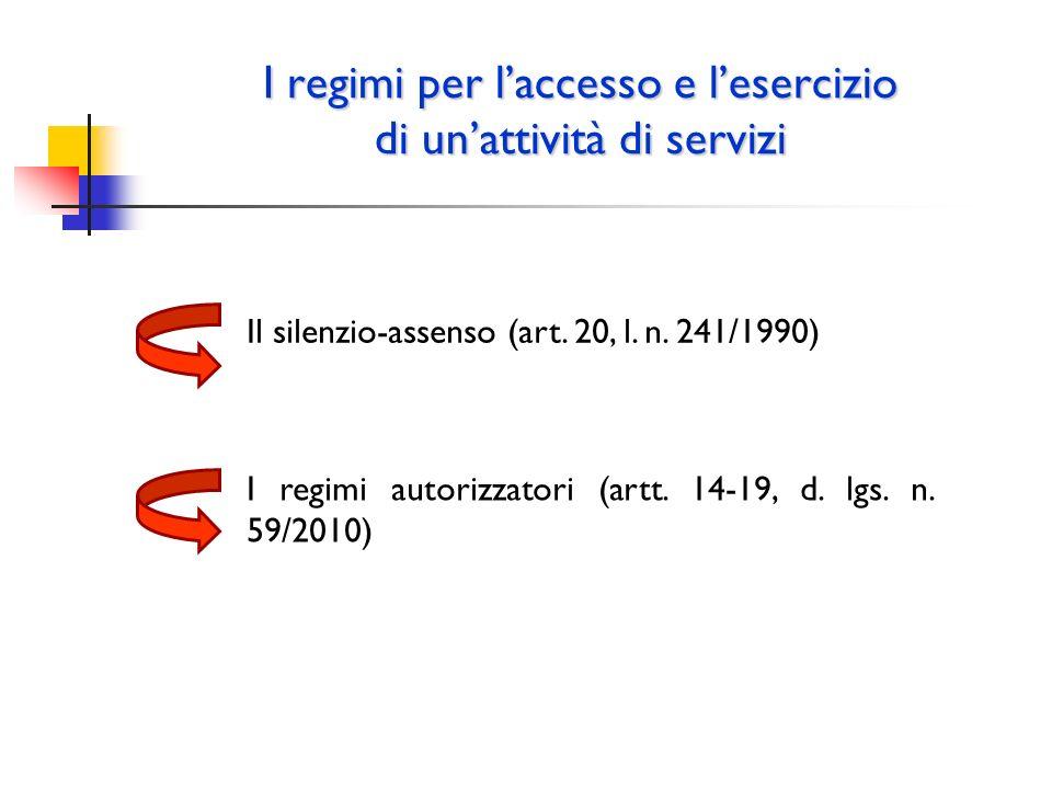I regimi per laccesso e lesercizio di unattività di servizi Il silenzio-assenso (art. 20, l. n. 241/1990) I regimi autorizzatori (artt. 14-19, d. lgs.