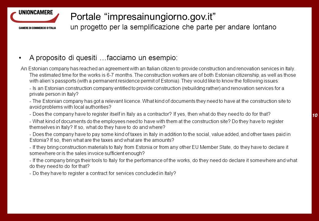 10 Portale impresainungiorno.gov.it un progetto per la semplificazione che parte per andare lontano A proposito di quesiti …facciamo un esempio: An Es
