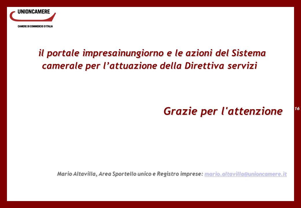 16 il portale impresainungiorno e le azioni del Sistema camerale per lattuazione della Direttiva servizi il portale impresainungiorno e le azioni del