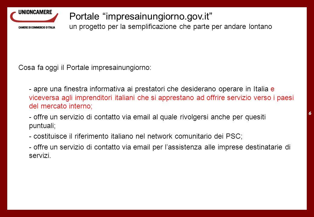 6 Portale impresainungiorno.gov.it un progetto per la semplificazione che parte per andare lontano Cosa fa oggi il Portale impresainungiorno: - apre u