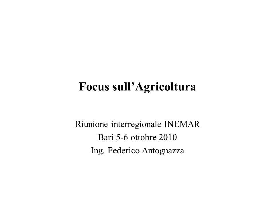 Focus sullAgricoltura Riunione interregionale INEMAR Bari 5-6 ottobre 2010 Ing. Federico Antognazza
