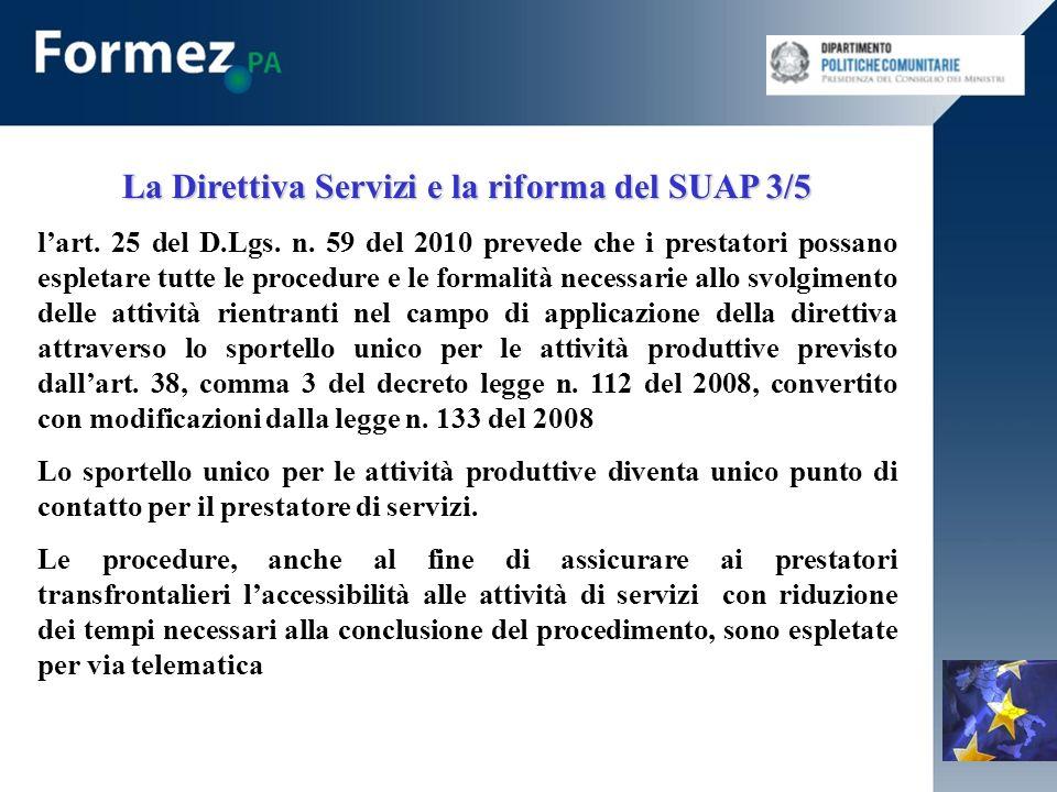 La Direttiva Servizi e la riforma del SUAP 3/5 lart.