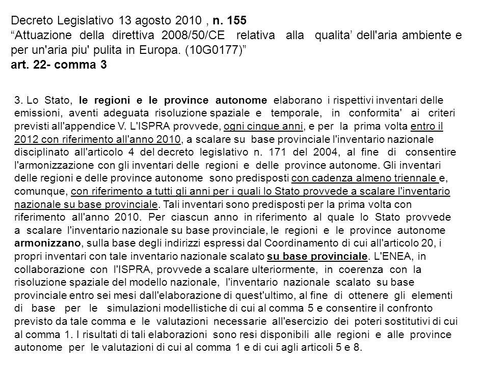 Decreto Legislativo 13 agosto 2010, n. 155 Attuazione della direttiva 2008/50/CE relativa alla qualita dell'aria ambiente e per un'aria piu' pulita in