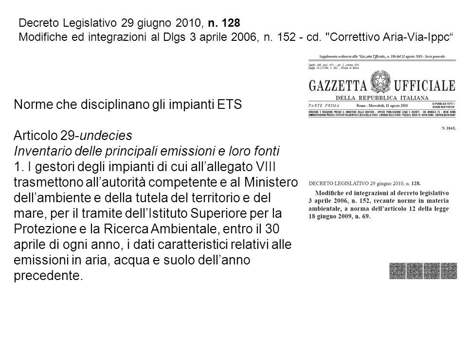 Decreto Legislativo 29 giugno 2010, n. 128 Modifiche ed integrazioni al Dlgs 3 aprile 2006, n. 152 - cd.