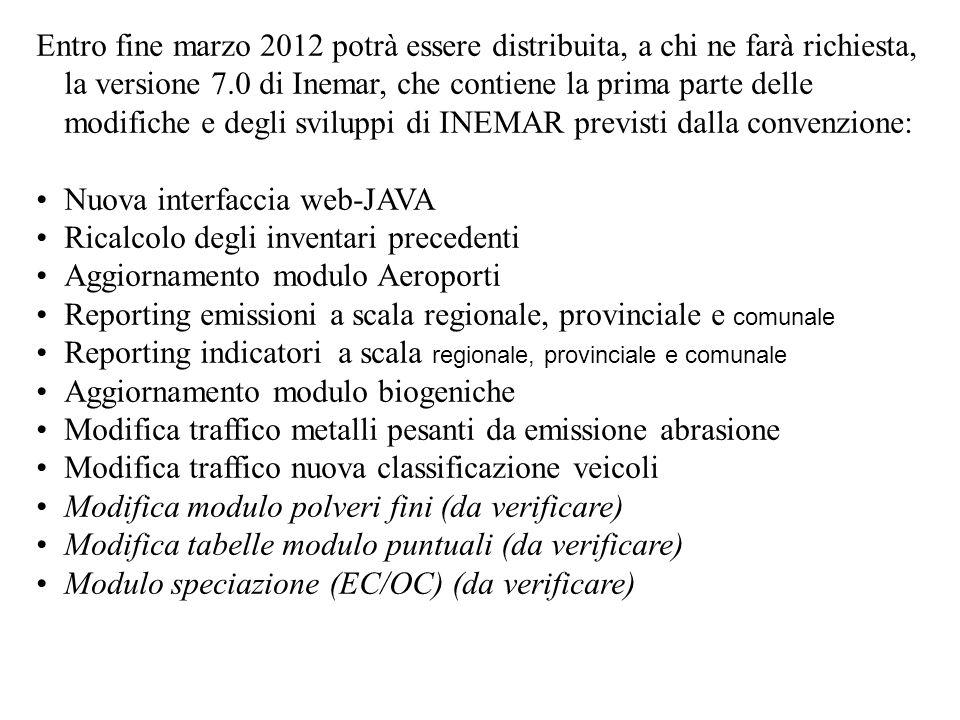 Entro fine marzo 2012 potrà essere distribuita, a chi ne farà richiesta, la versione 7.0 di Inemar, che contiene la prima parte delle modifiche e degl