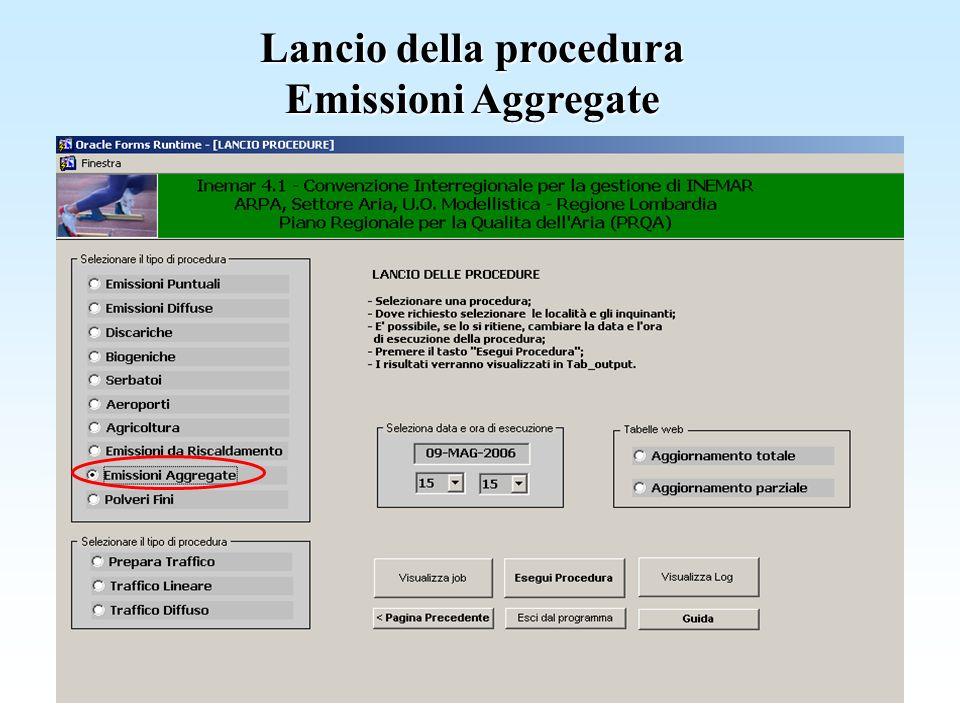 Lancio della procedura Emissioni Aggregate