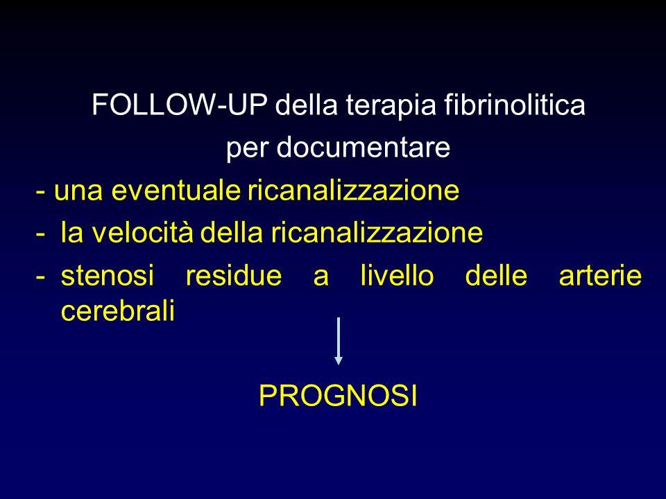 FOLLOW-UP della terapia fibrinolitica per documentare - una eventuale ricanalizzazione -la velocità della ricanalizzazione -stenosi residue a livello delle arterie cerebrali PROGNOSI