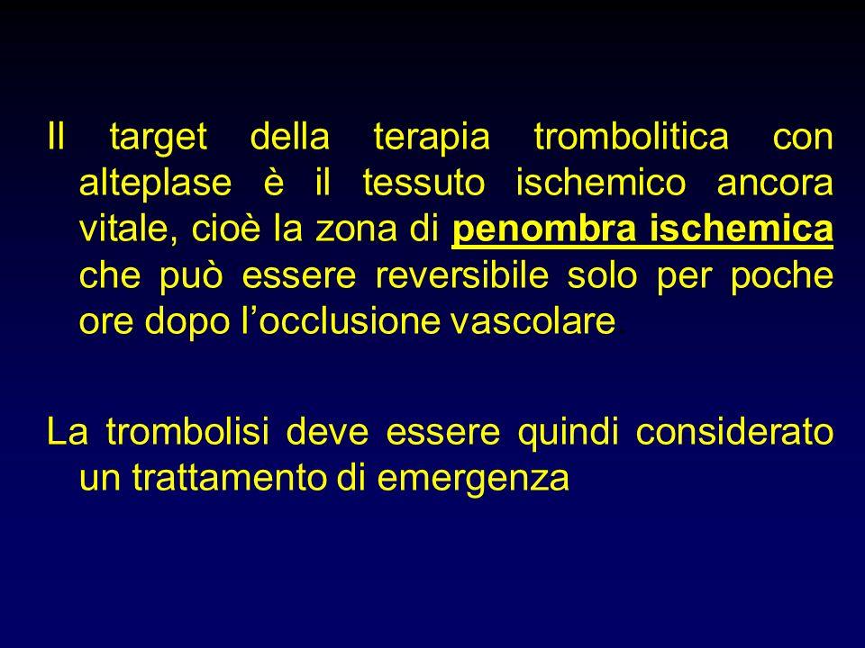 Il target della terapia trombolitica con alteplase è il tessuto ischemico ancora vitale, cioè la zona di penombra ischemica che può essere reversibile solo per poche ore dopo locclusione vascolare.