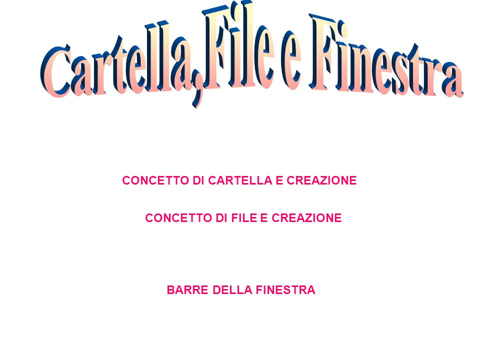 CONCETTO DI CARTELLA E CREAZIONE CONCETTO DI FILE E CREAZIONE BARRE DELLA FINESTRA