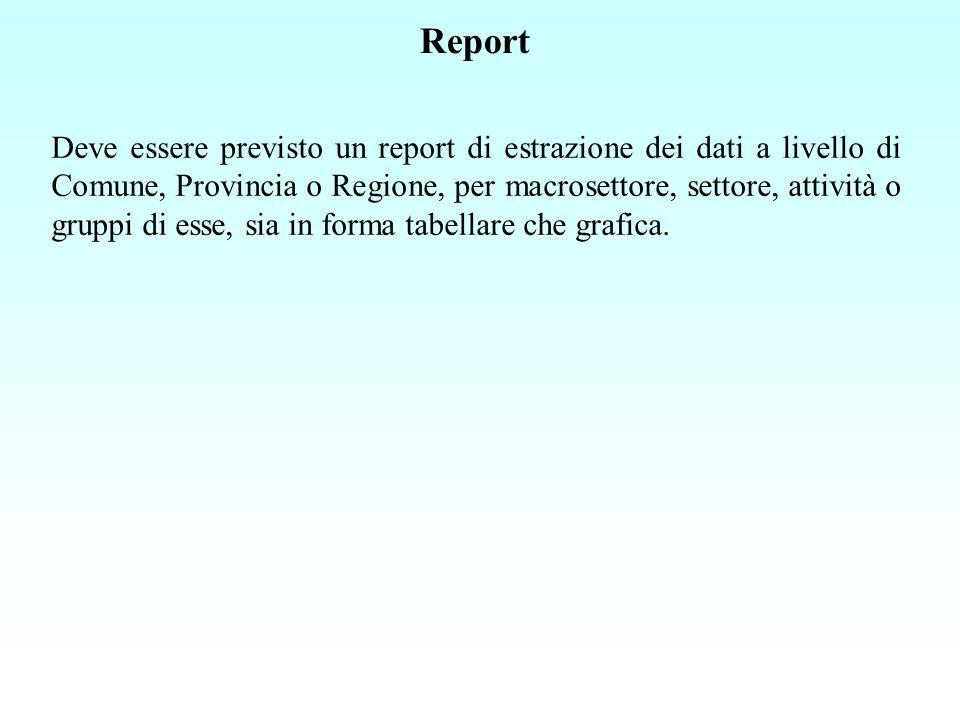 Report Deve essere previsto un report di estrazione dei dati a livello di Comune, Provincia o Regione, per macrosettore, settore, attività o gruppi di esse, sia in forma tabellare che grafica.