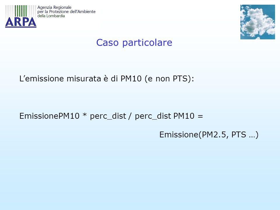 Caso particolare Lemissione misurata è di PM10 (e non PTS): EmissionePM10 * perc_dist / perc_dist PM10 = Emissione(PM2.5, PTS …)