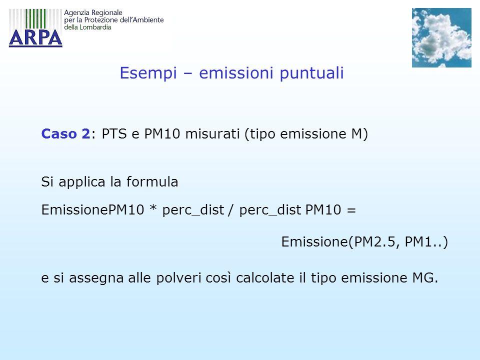 Esempi – emissioni puntuali Caso 2: PTS e PM10 misurati (tipo emissione M) Si applica la formula EmissionePM10 * perc_dist / perc_dist PM10 = Emissione(PM2.5, PM1..) e si assegna alle polveri così calcolate il tipo emissione MG.
